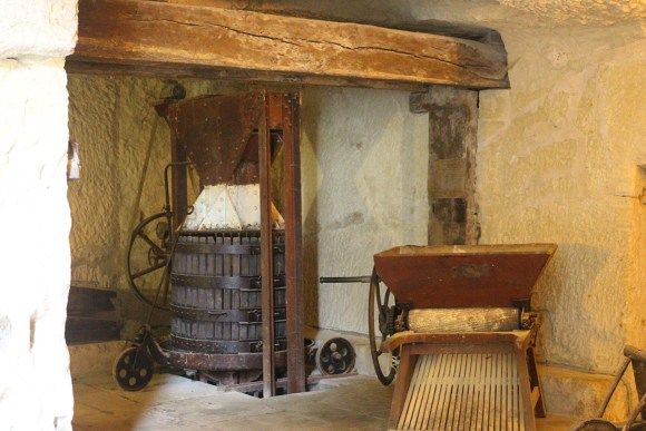 Sifter and press in the tunnels of Chateau de Breze.