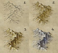 How to draw mountains - a tutorial on illustrating a mountain range on a fantasy map, for Gimp or Photoshop