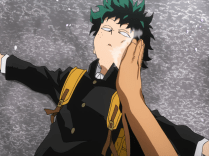 All Might waking Izuku up after he was subject to an attack.