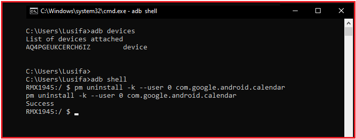 adb shell command on realme