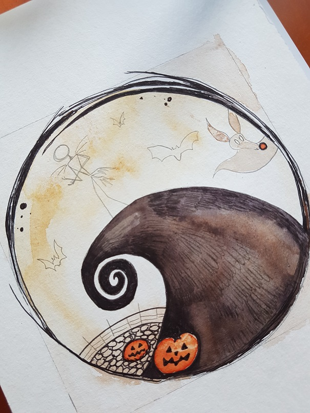 Nightmare before Christmas Aquarell Bild. Foto: geek's Antiques/Lilli