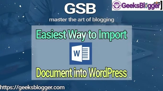 import word document into WordPress
