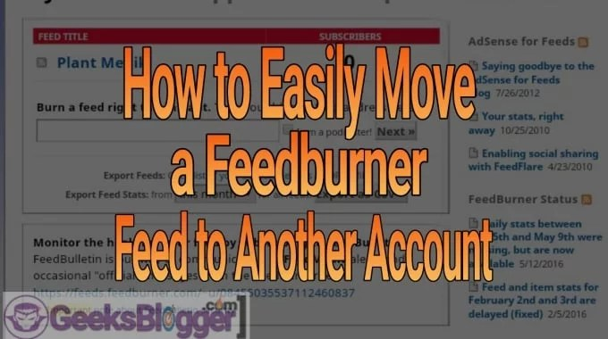 move a feedburner feed to another account