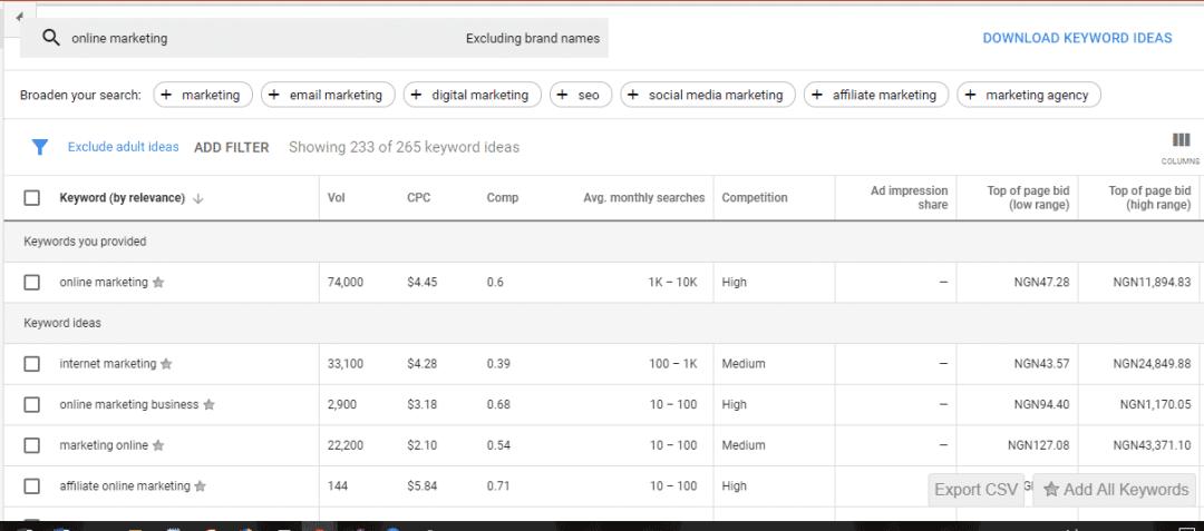 Google keyword planner search result