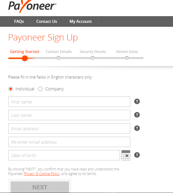 Open Payoneer Account In Nigeria Step 1