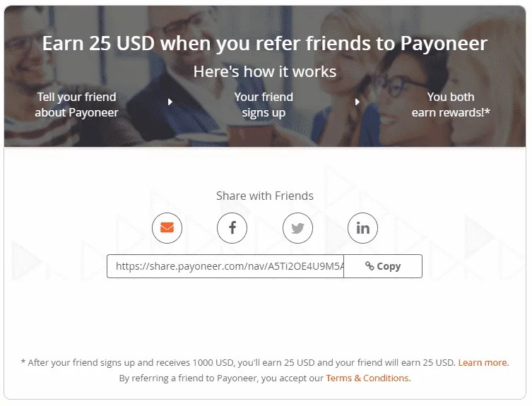 refer a friend to Payoneer