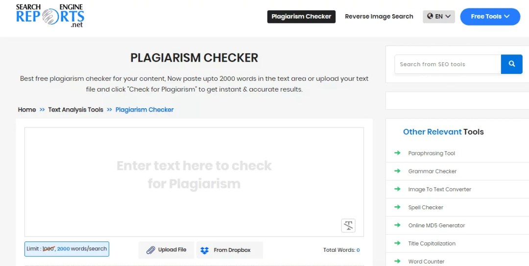 Search Engine Reports Plagiarism Checker Tool