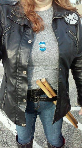 "Agent Bobbi Morse. ""Mockingbird"" Leather jacket, Shield patch, dog tag, escrima, boots."