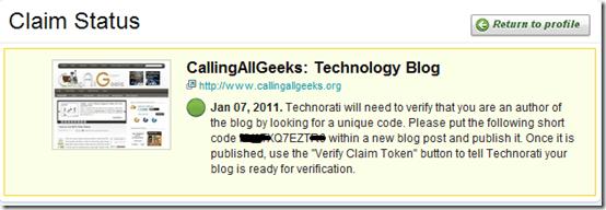 claimstatustechnorati thumb How to Submit Blog to Technorati?