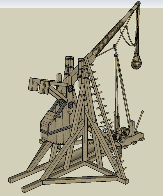 Tebuchet (Catapult) - side view
