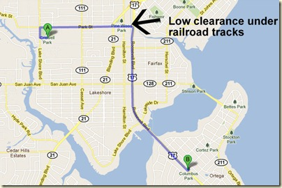 Jacksonville low bridge route, planned by Google Maps