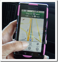 Droid Smartphone being used for navigation
