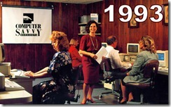 Chris teaching PageMaker in 1993 at her business - Computer Savvy