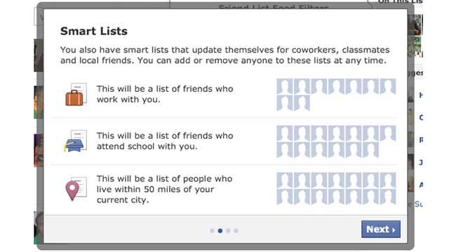Facebook esta probando una nueva funcionalidad parecida a los círculos de Google+ 1