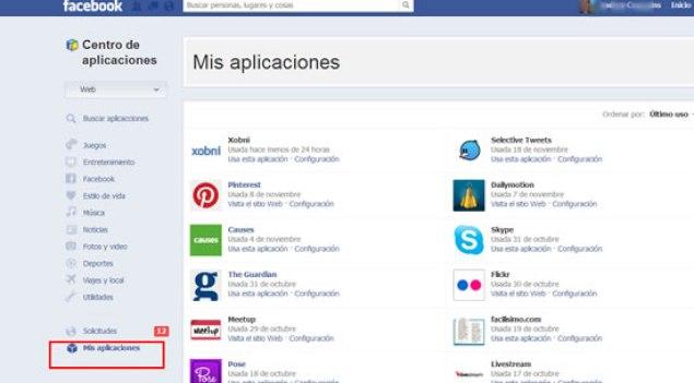 Facebook-MisaplicacionesCentro de aplicaciones