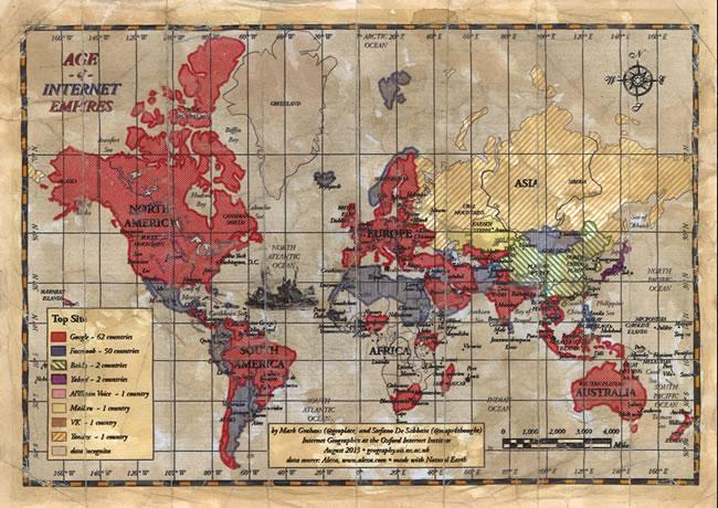 Age of Internet Empires: Un mapa que muestra cual página es más popular en cada país