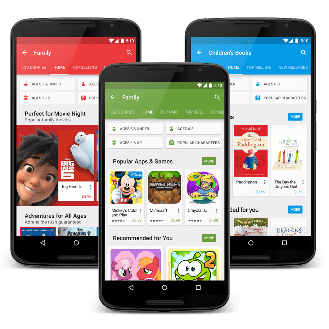 Google Play family screen trio