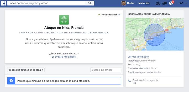 Facebook activa la Comprobación del Estado de Seguridad en Niza, Francia, ante un nuevo y cobarde ataque terrorista
