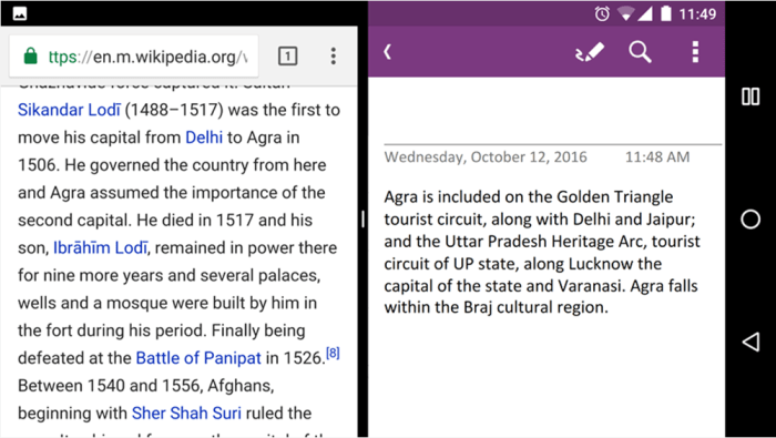 OneNote para Android - Múltiples Ventanas