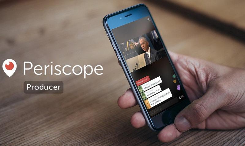 Periscope Producer permite realizar transmisiones de fuentes externas a la aplicación móvil