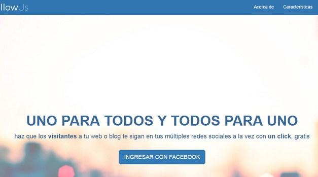 FollowUs permite a los visitantes de tu sitio seguirte a través de todas sus redes sociales con un solo clic