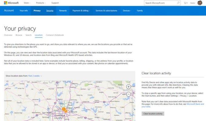 Microsoft Panel de Privacidad