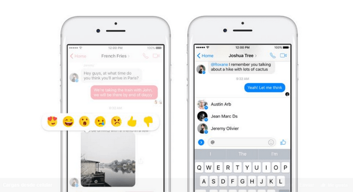 Facebook Messenger - Reacciones - Menciones