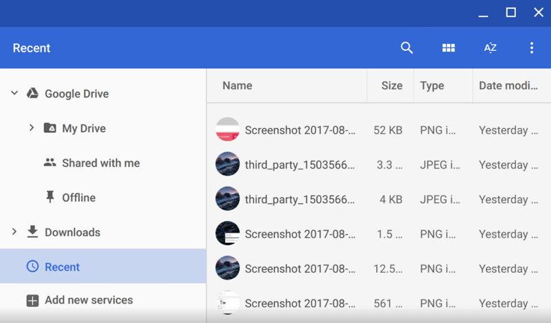 Google Chrome - Ficheros Recientes