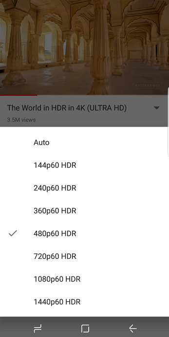 Youtube - Samsung Galaxy S8 - HDR Vídeo