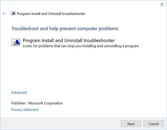 Windows Install and Unistall Troubleshooter