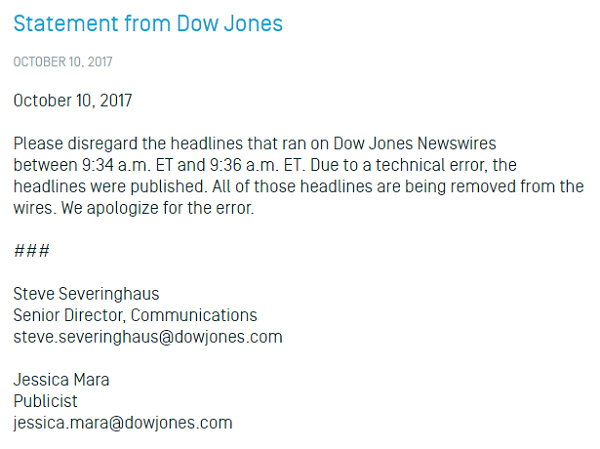 Dow Jones Newswires - Comunicado