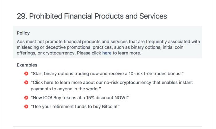 Facebook - Anuncios Prohibidos - Bitcoin - ICO - Criptomonedas