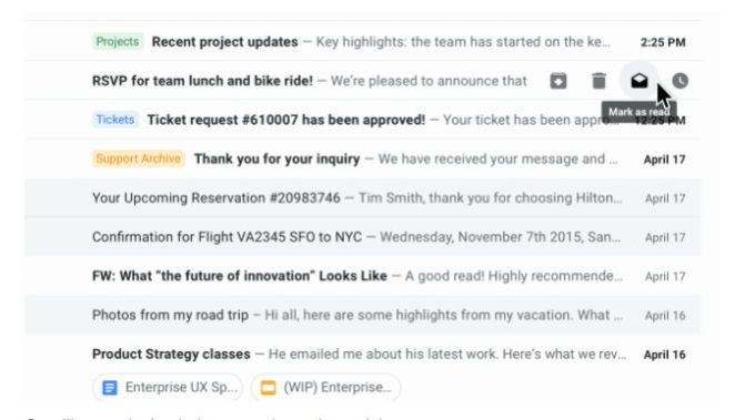 Gmail web - botones de acción