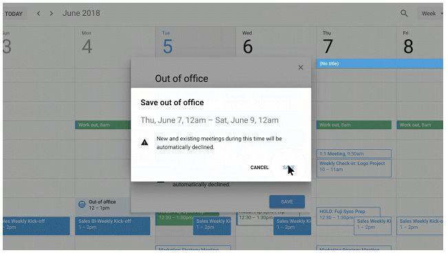 Calendario de Google - Fuera de la Oficina