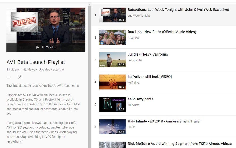 Youtube - Lista de Vídeos AV1