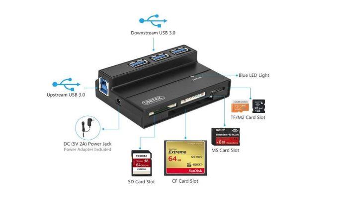 Unitek Flash Memory Card Reader - 3-Port USB 3.0 USB Hub