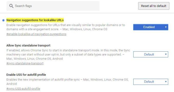 Chrome URLs Lookalike