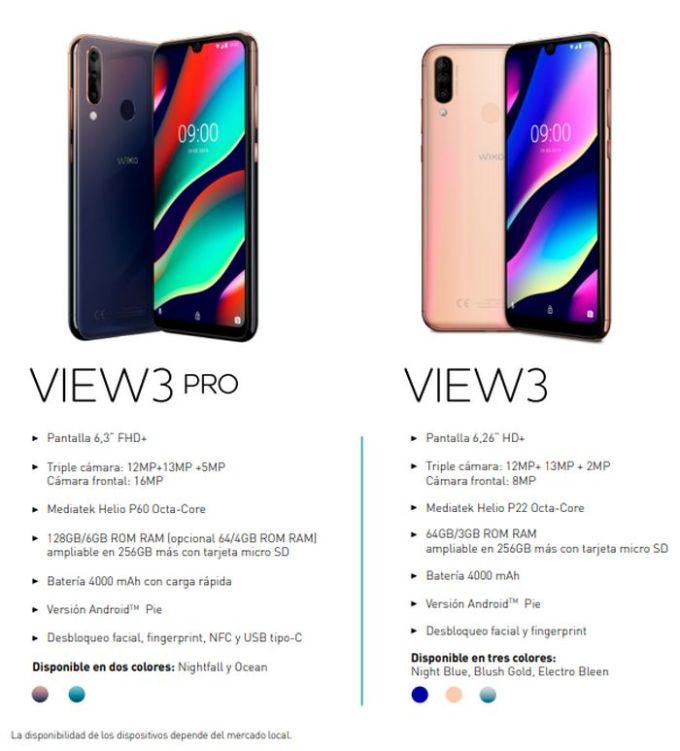 Wiko View3 Pro y View3 - Especificaciones