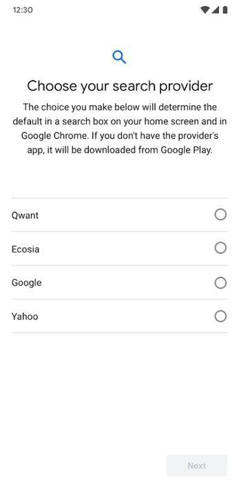 Google Android - Seleccionar Buscador