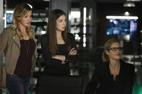 "Arrow -- ""Taken"" -- Image AR415b_0205.jpg -- Pictured (L-R): Katie Cassidy as Laurel Lance/Black Canary, Anna Hopkins as Samantha, and Emily Bett Rickards as Felicity Smoak -- Photo: Bettina Strauss/ The CW -- © 2016 The CW Network, LLC. All Rights Reserved."