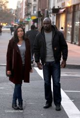"NEW YORK, NY - DECEMBER 02: Mike Colter, Rosario Dawson filming ""Marvel / Netflix's ""Luke Cage"" on December 2, 2015 in New York City. (Photo by Steve Sands/GC Images)"