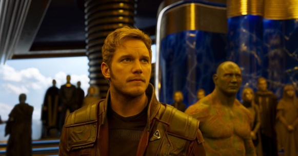 Guardians Of The Galaxy Vol. 2..L to R: Star-Lord/Peter Quill (Chris Pratt) and Drax (Dave Bautista)..Ph: Film Frame..©Marvel Studios 2017