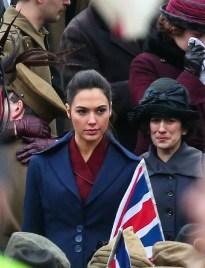 Gal Gadot and Lucy Davis film a scene for the movie 'Wonder Woman' in Trafalgar Square Featuring: Gal Gadot Where: London, United Kingdom When: 21 Feb 2016 Credit: WENN.com
