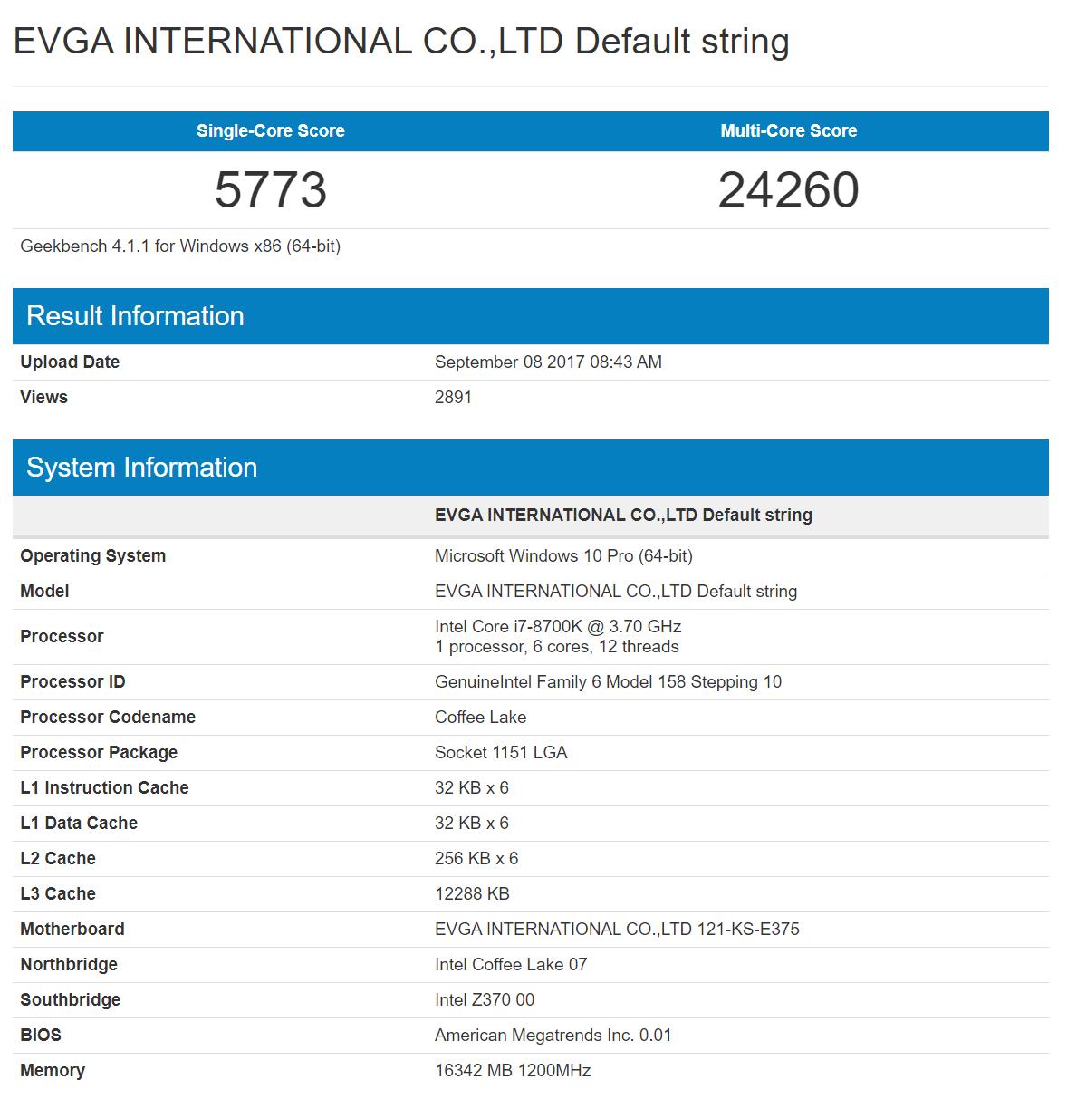 Early Intel Core i7-8700K Benchmarks Leaked, Barely Beats Ryzen 5 1600