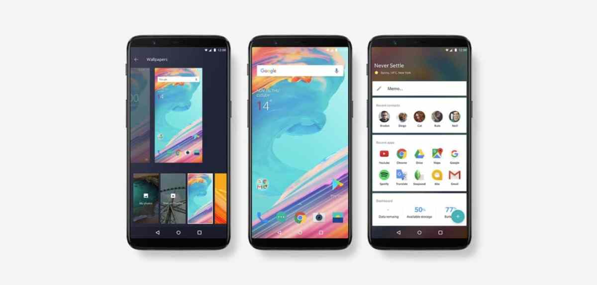 Three OnePlus 5T Smartphones Oxygen OS side by side
