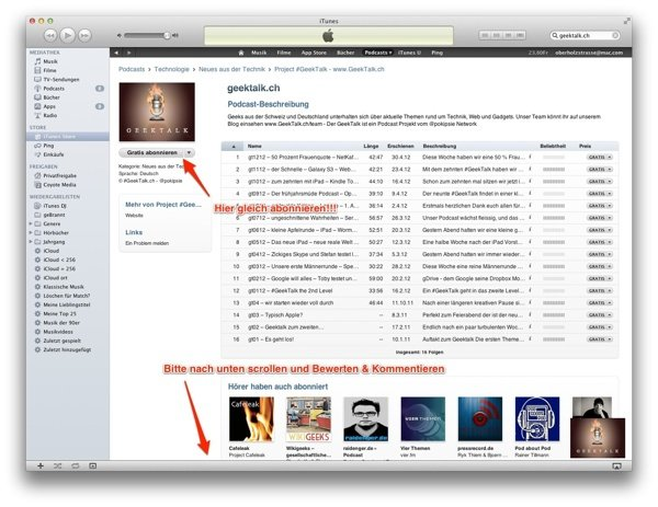 Podcast via iTunes am Mac abonnieren