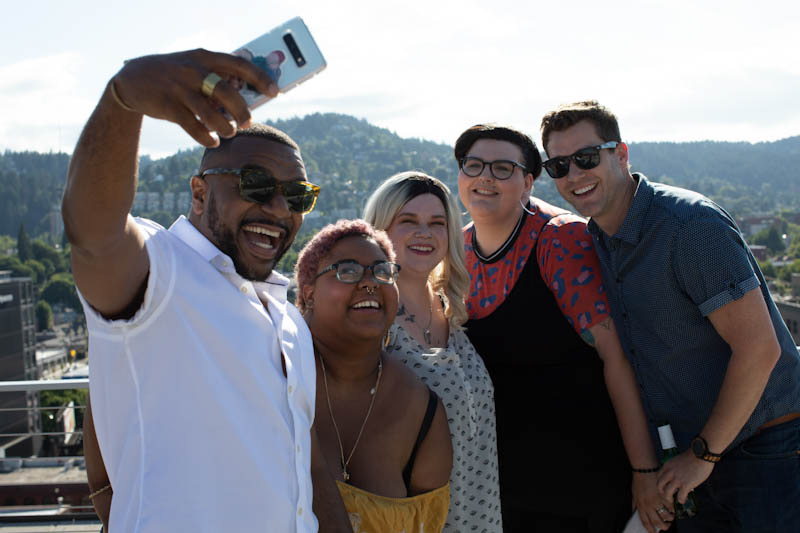 A group of friends taking a selfie