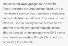 DNS Lookup Failed Error in Chrome