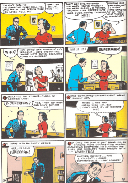 """Image from """"Action Comics"""" #9 written by Siegel and illustrated by Shuster."""