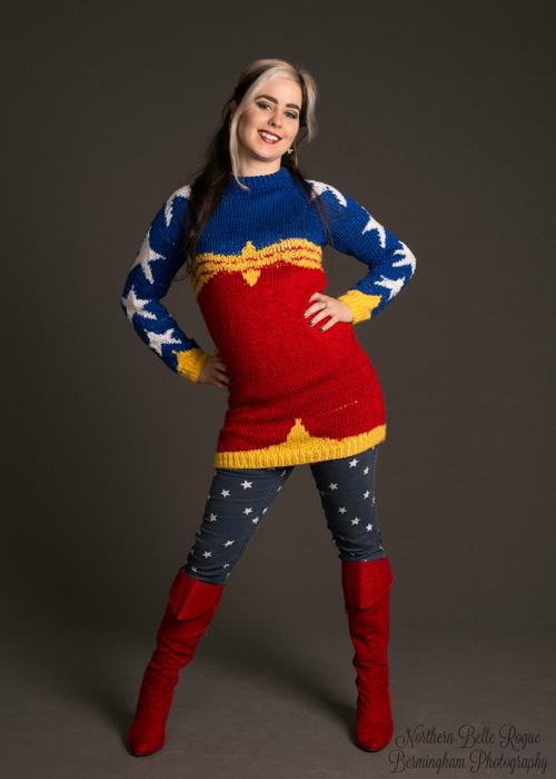 Wonder Woman Sweater Photoshoot